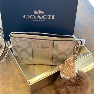 NWT Signature Coach Wristlet in Gift Box